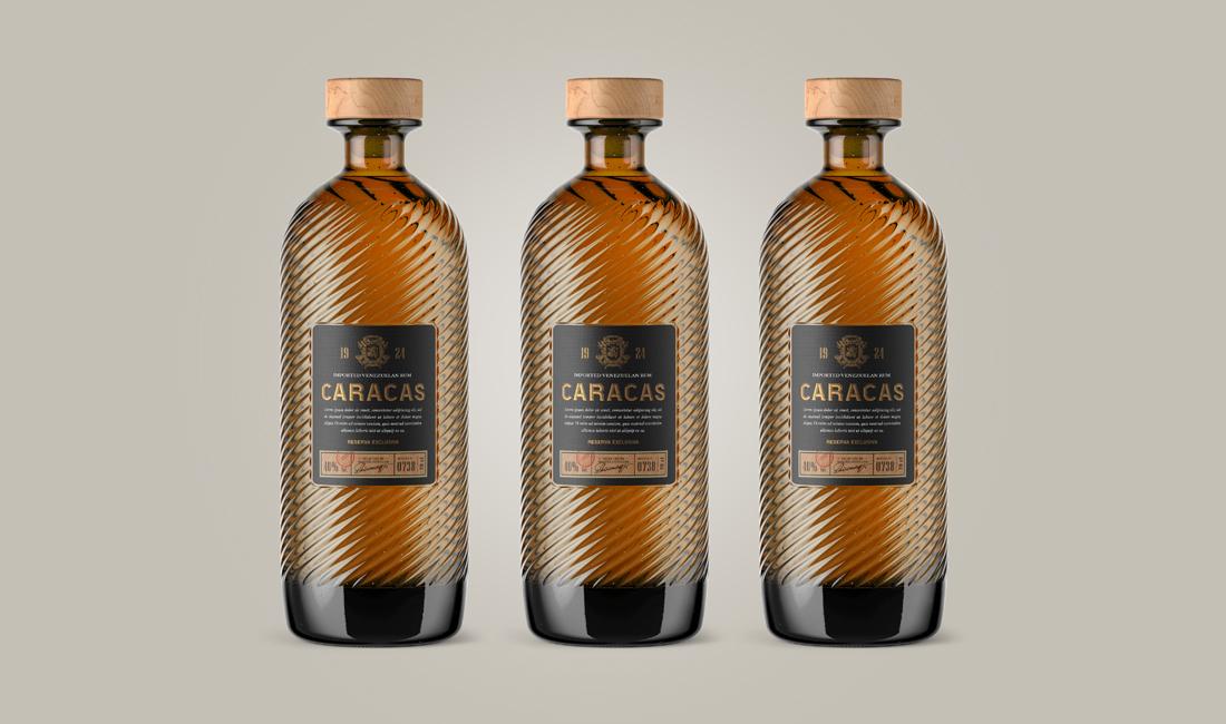 concept de packaging pour une bouteille de rhum vénézuélien