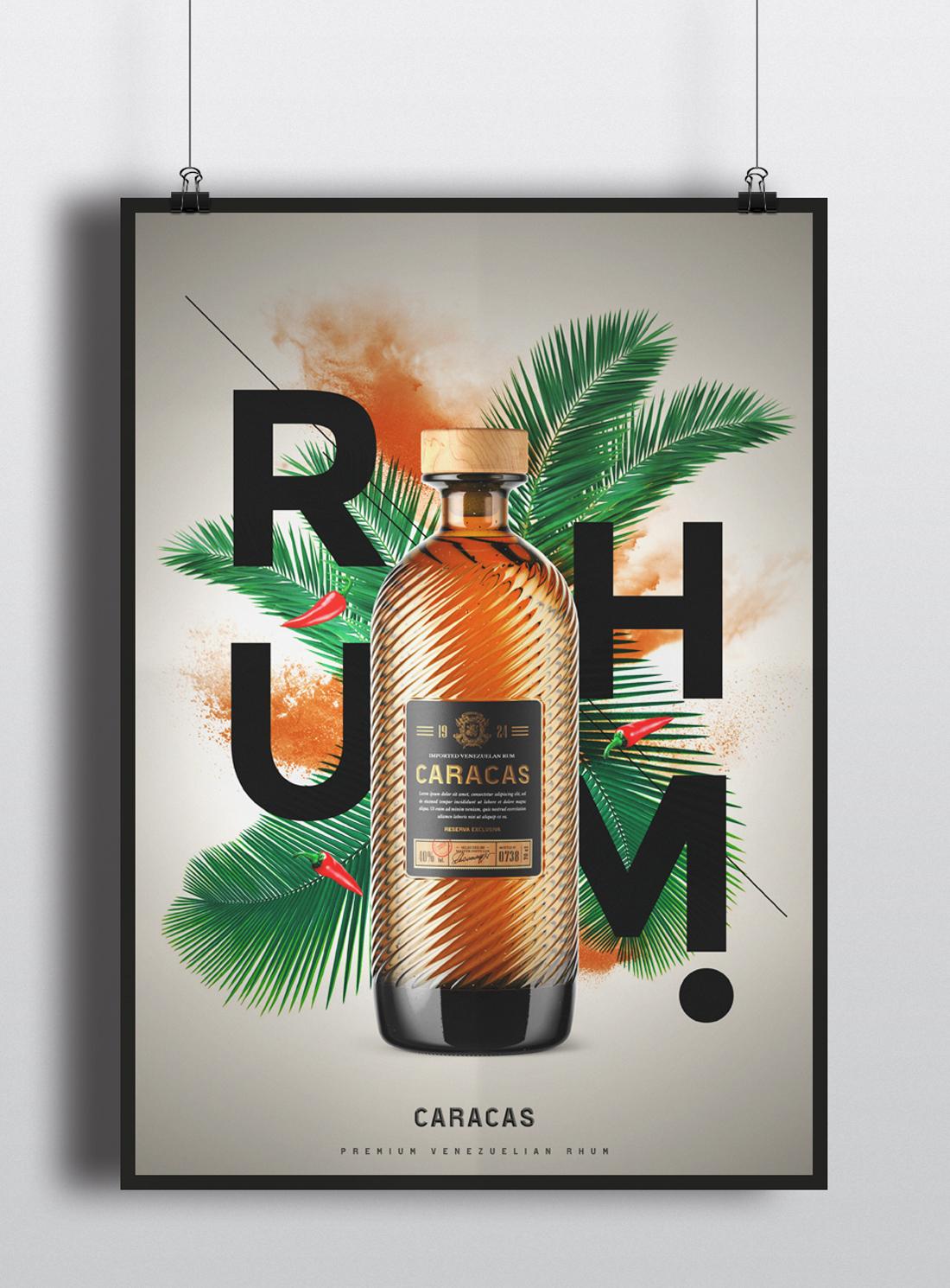 Affiche style éxotique pour bouteille de rhum vénézuélien