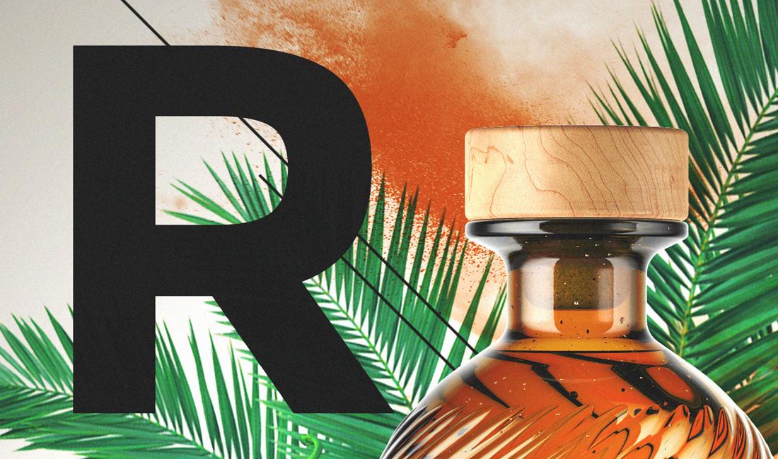 détail d'affiche style éxotique pour bouteille de rhum vénézuélien